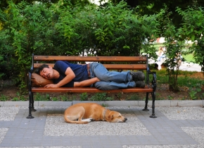 Sleeping Man and Dog